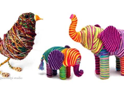 Recycled Yarn Wrapped Animal Sculptures